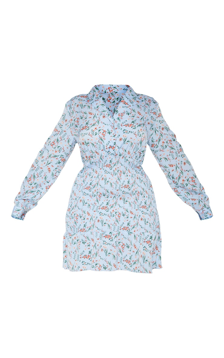 Plus Dusty Blue Ditsy Floral Shirred Shirt Detail Skater Dress 3