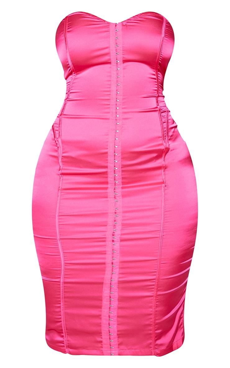 Shape Hot Pink Sweetheart Hook And Eye Midi Dress 5