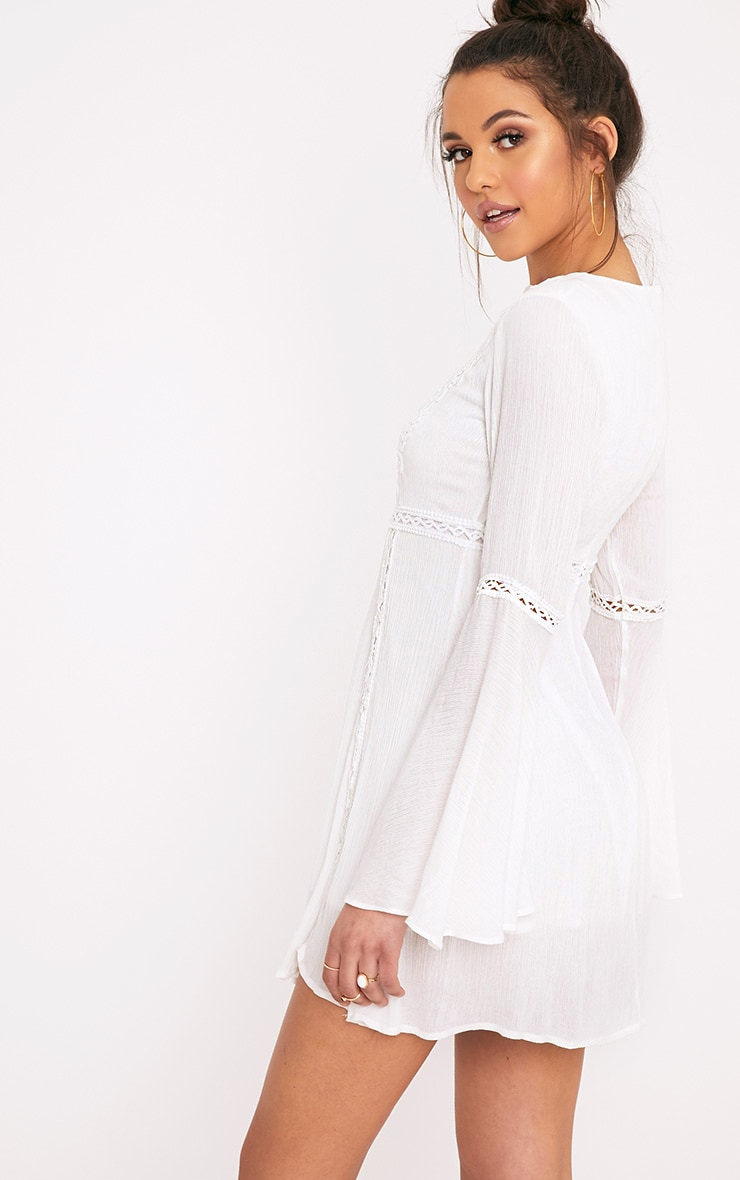 Karmen White Crochet Lace Insert Swing Dress 2