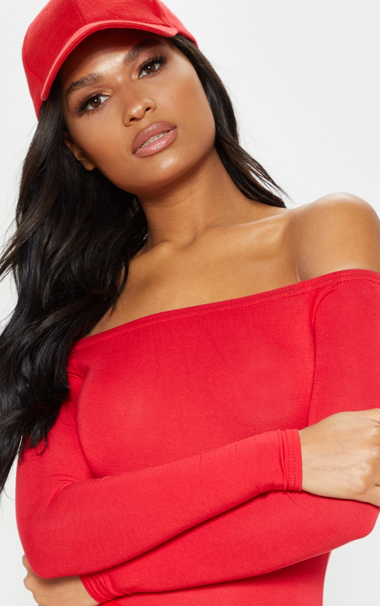 Basic Red Bardot Bodysuit 5