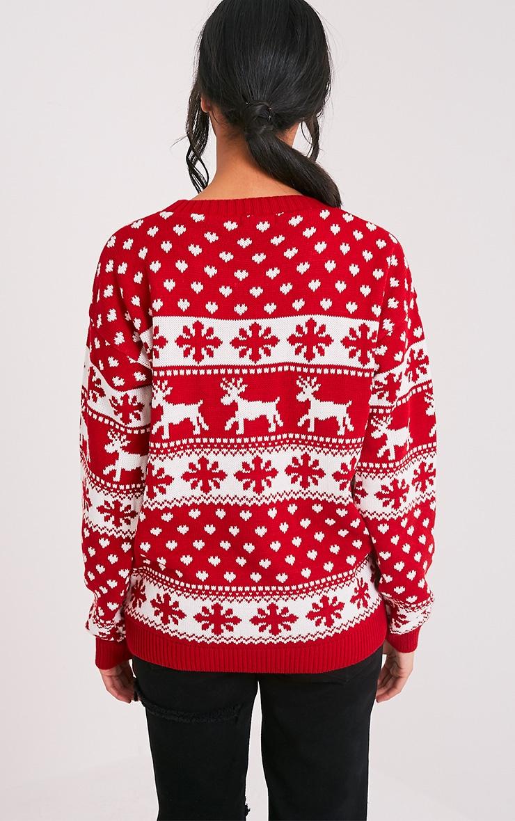 Snowflake/Reindeer Red Mix Christmas Jumper 2