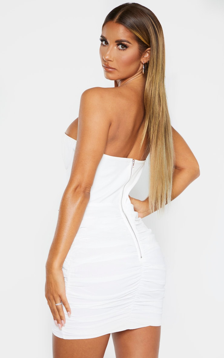White Bandeau Binded Cup Detail Ruched Bodycon Dress 3