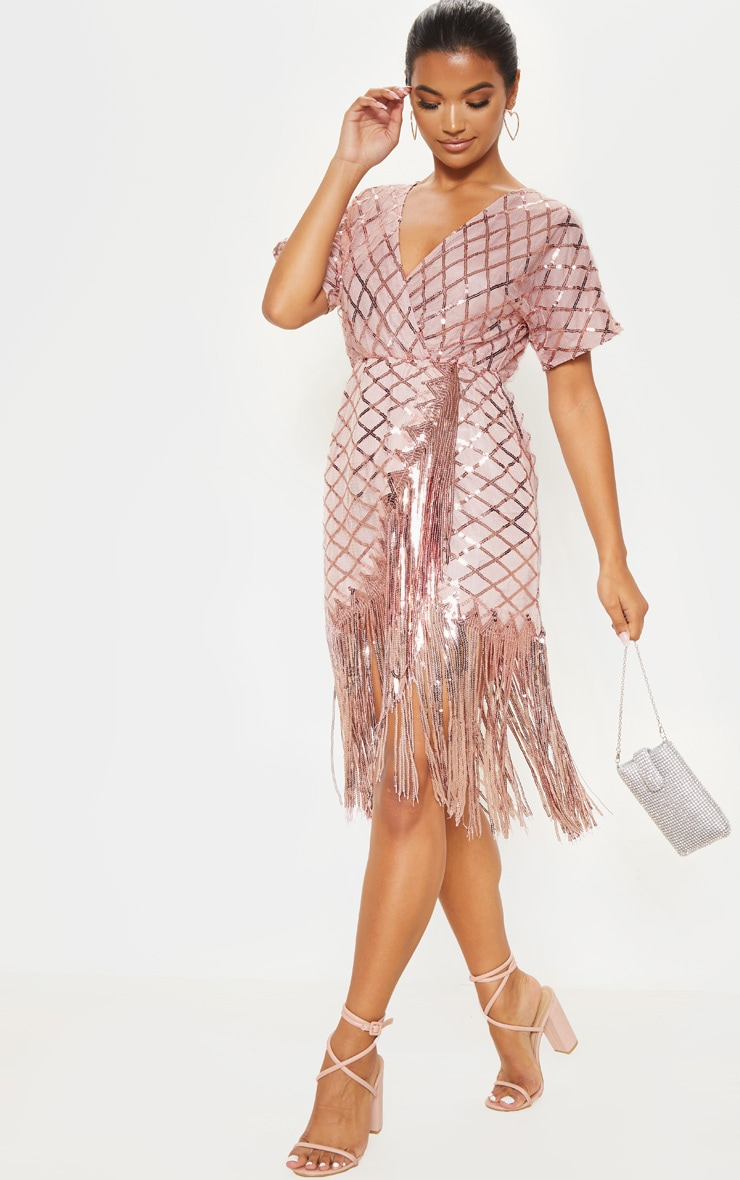 Dusty Pink Short Sleeve Sequin Tassel Shift Dress 4