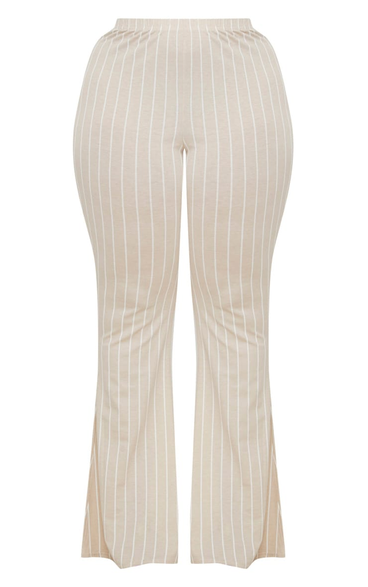 Plus Stone Striped Flared Trousers 3