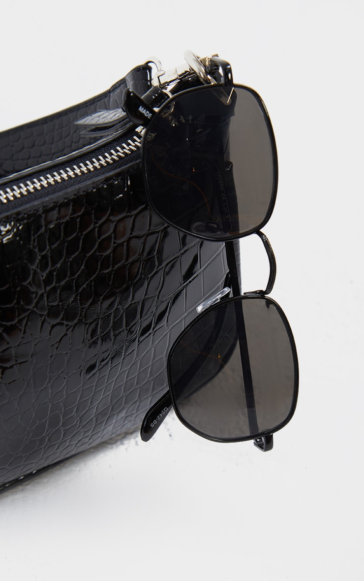 Black On Black Circular Sunglasses 2