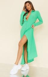 Green Brushed Rib Button Up Collar Detail Maxi Dress 1