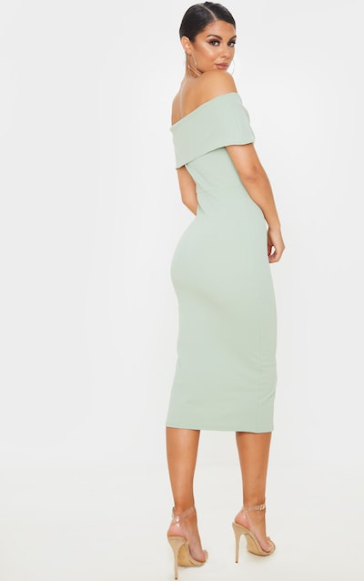 Sage Green Bardot Tie Drape Detail Midi Dress