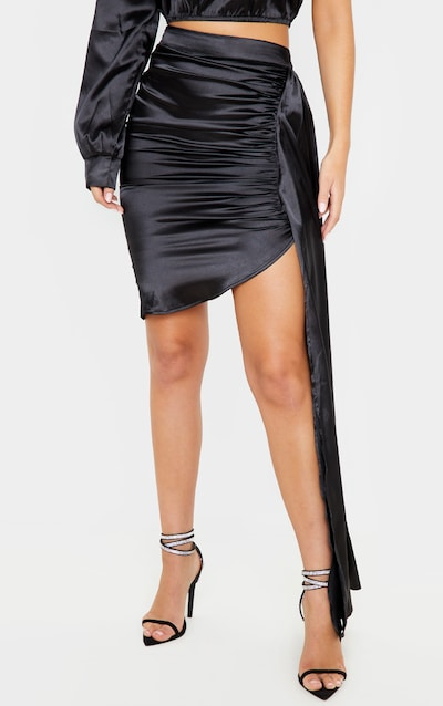 Black Ruched Satin Side Skirt