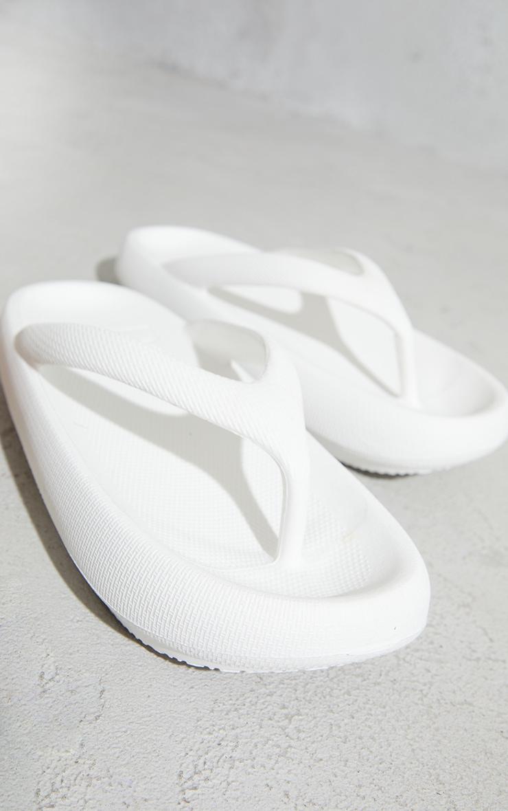 White Rubber Flatform Toe Thong Flip Flops 4