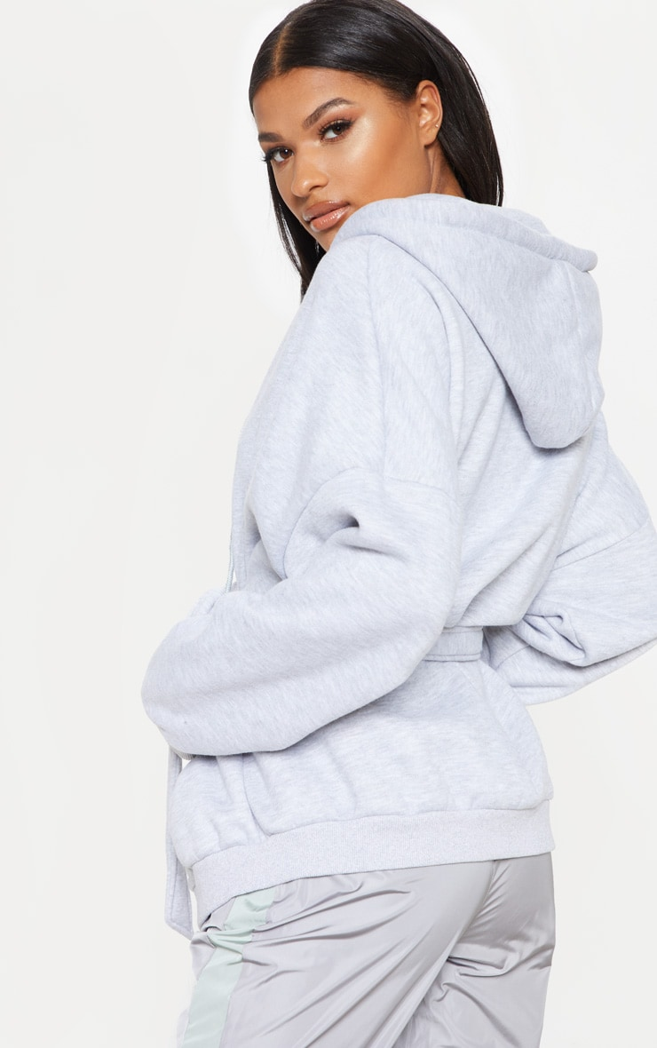 Grey Oversized Belted Sweat Hoodie 2