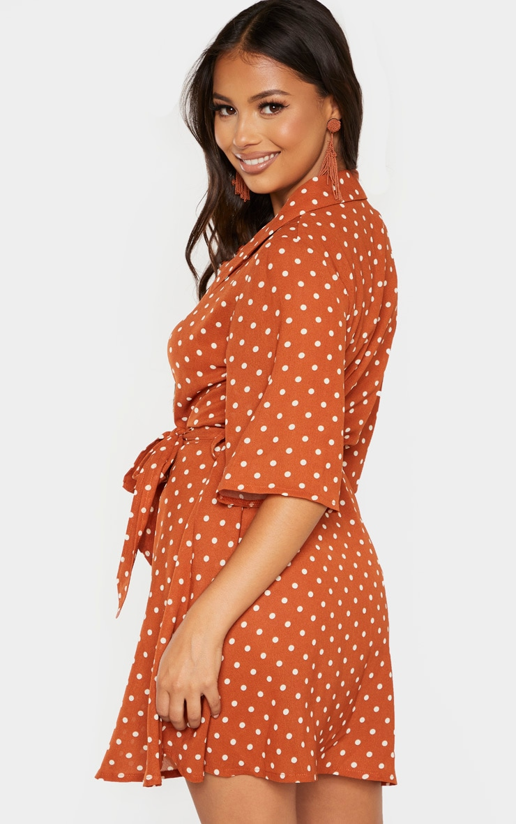 Petite Terracotta Polka Dot Tea Dress 2