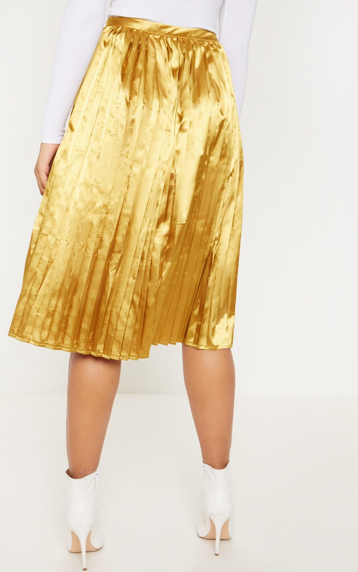 Tall Chartreuse Satin Pleated Midi Skirt  4