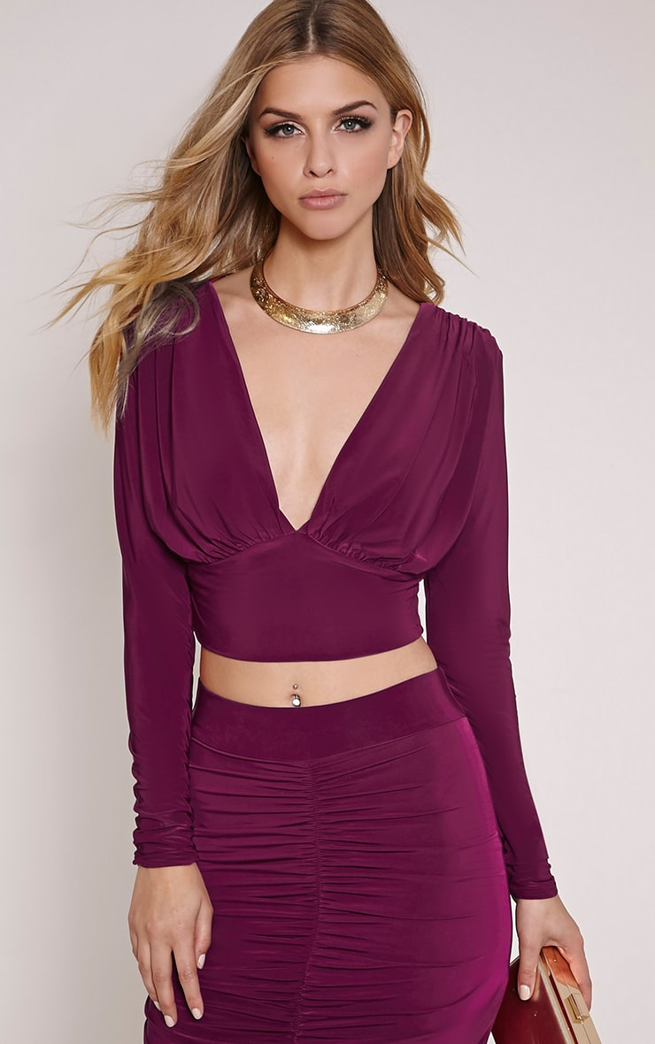 Nicole Plum Slinky Ruched Crop Top 1