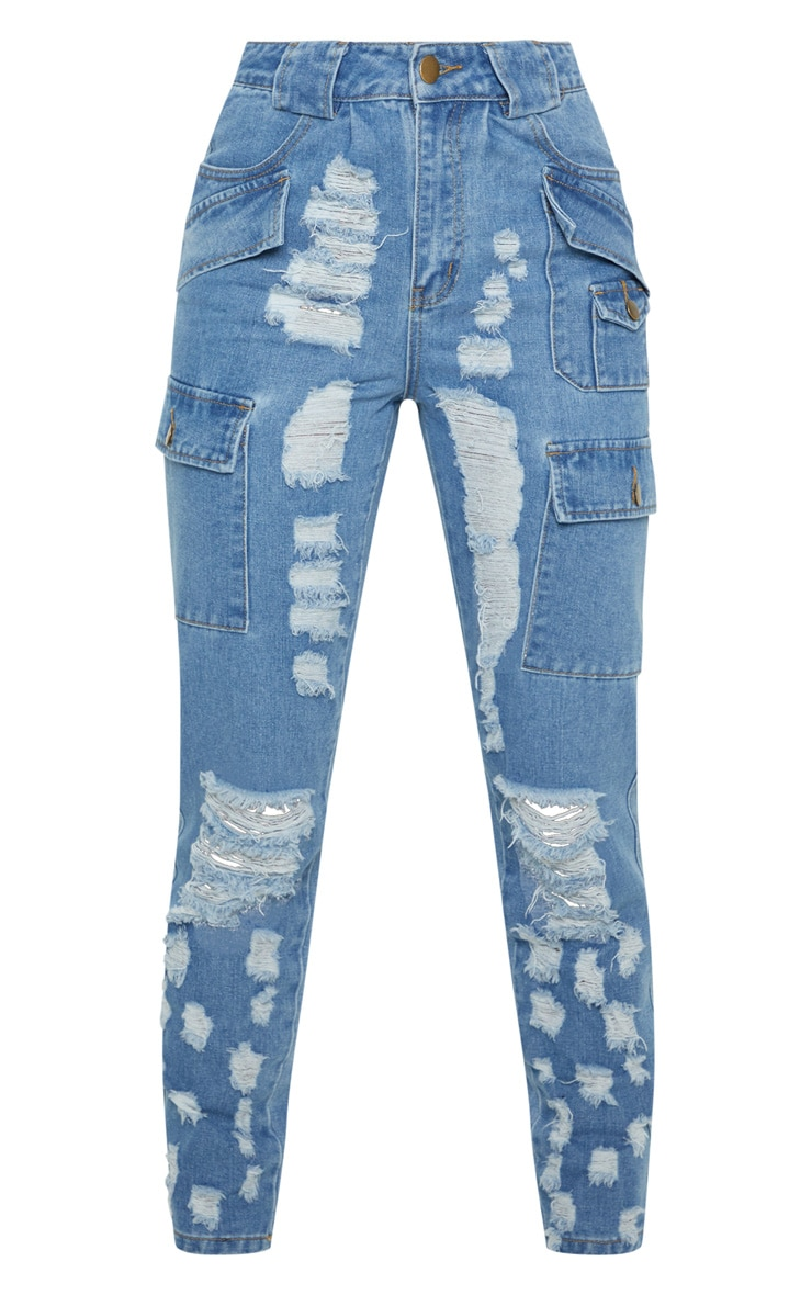 Mid Wash Heavy Distressed Cargo Jeans 3