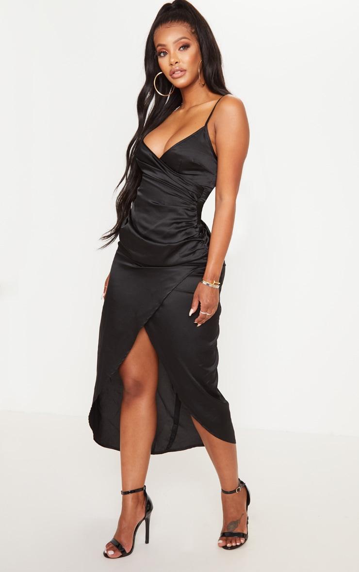 Shape Black Satin Wrap Detail Midaxi Dress 4