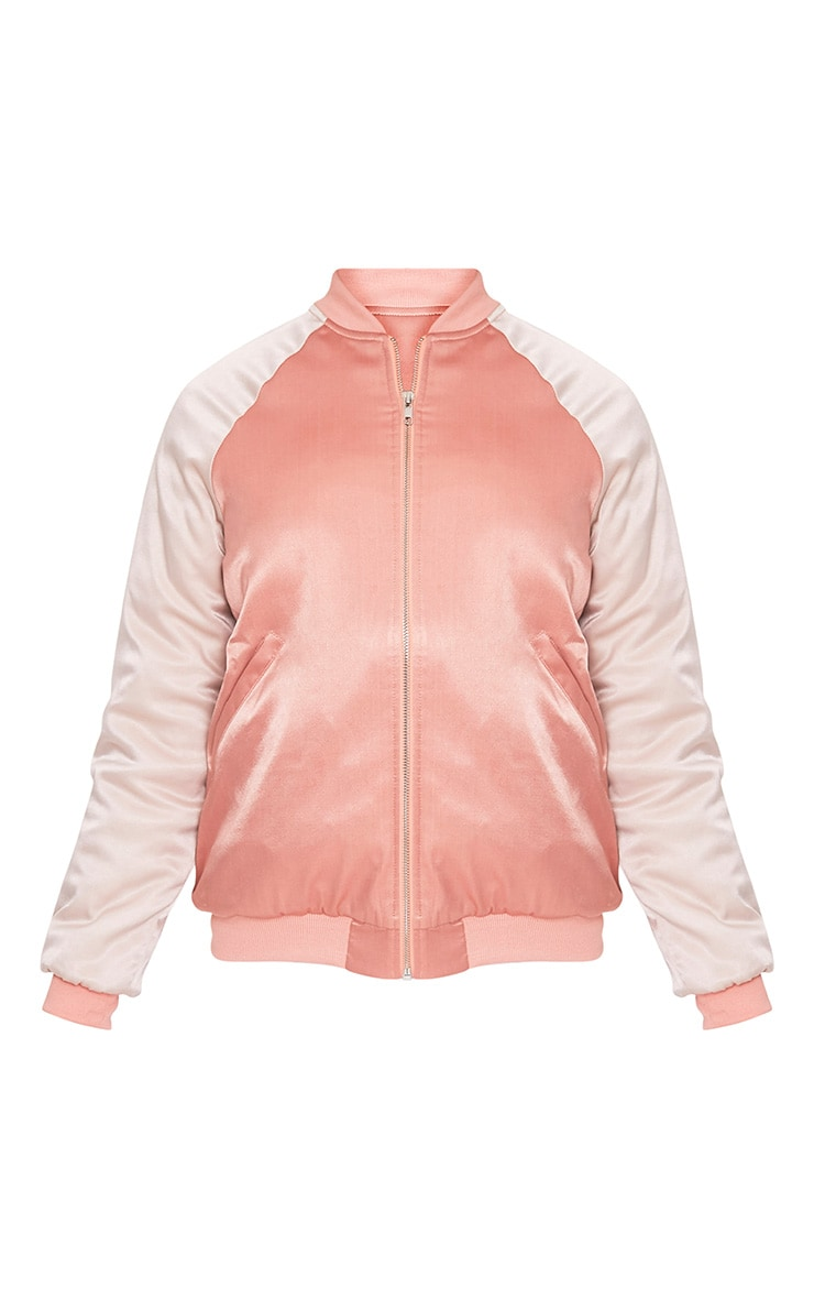 Nara Dusty Pink Satin Embroidered Padded Bomber 3