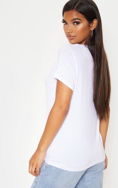 Basic White Jersey V Plunge T Shirt