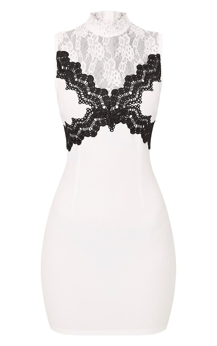 Zendana White High Neck Contrast Lace Bodycon Dress 3