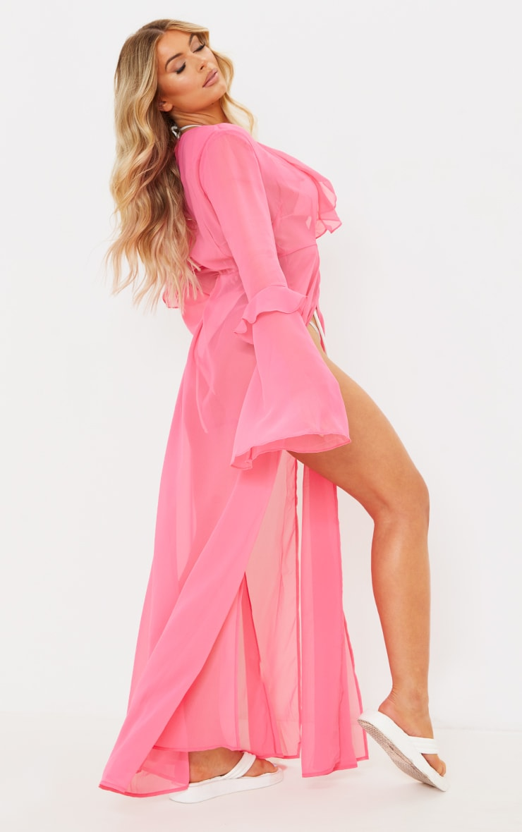 Pink Plunge Frilly Maxi Beach Dress 2