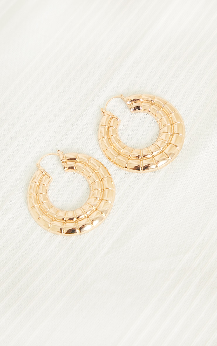 Gold Oversized Chunky Square Ribbed Hoop Earrings 2