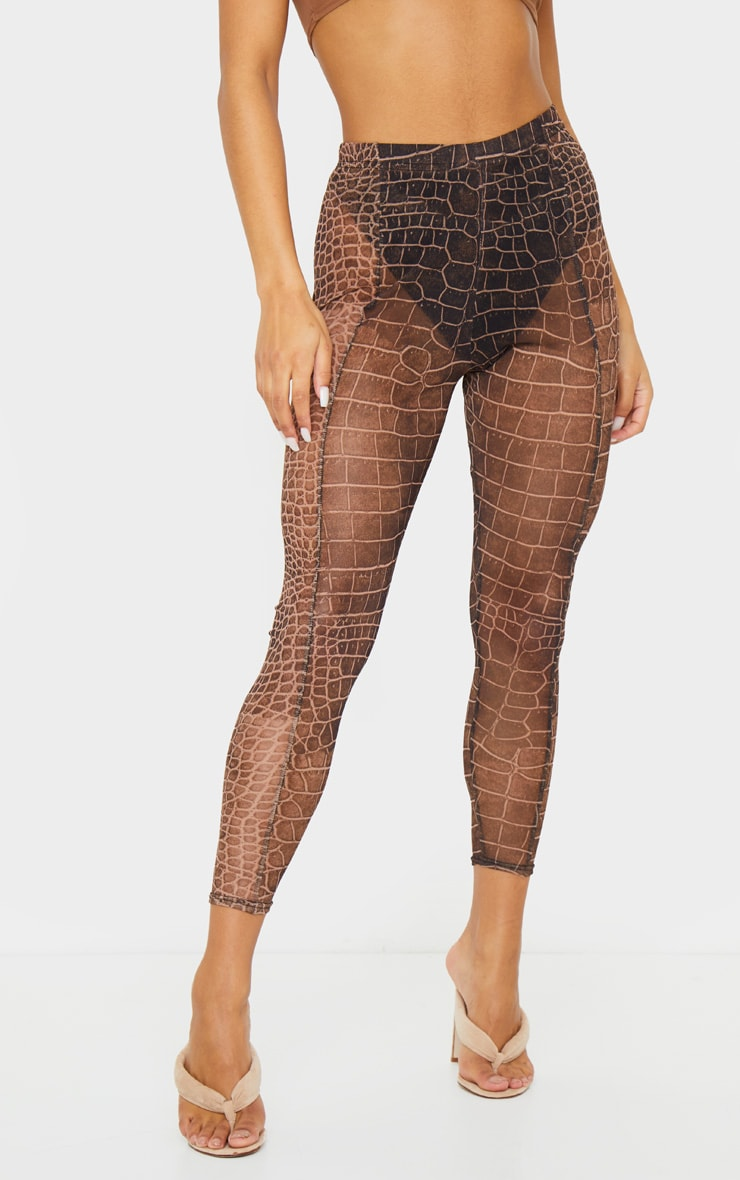 Brown Croc Mesh Seam Detail Legging 2