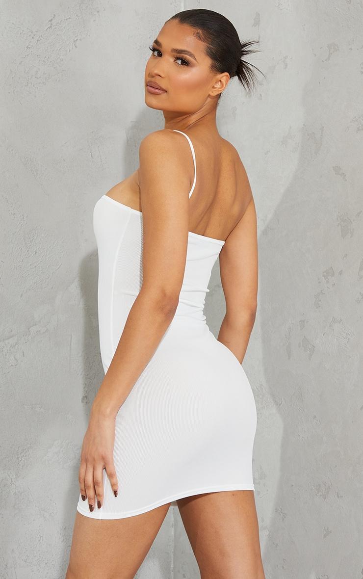 White Ribbed One Shoulder Spaghetti Strap Bodycon Dress 2