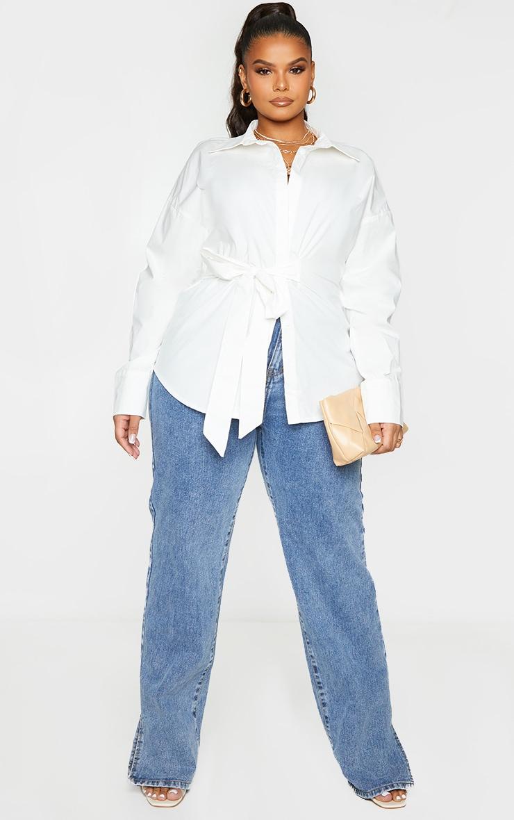 Plus White Tie Side Detail Poplin Shirt 1