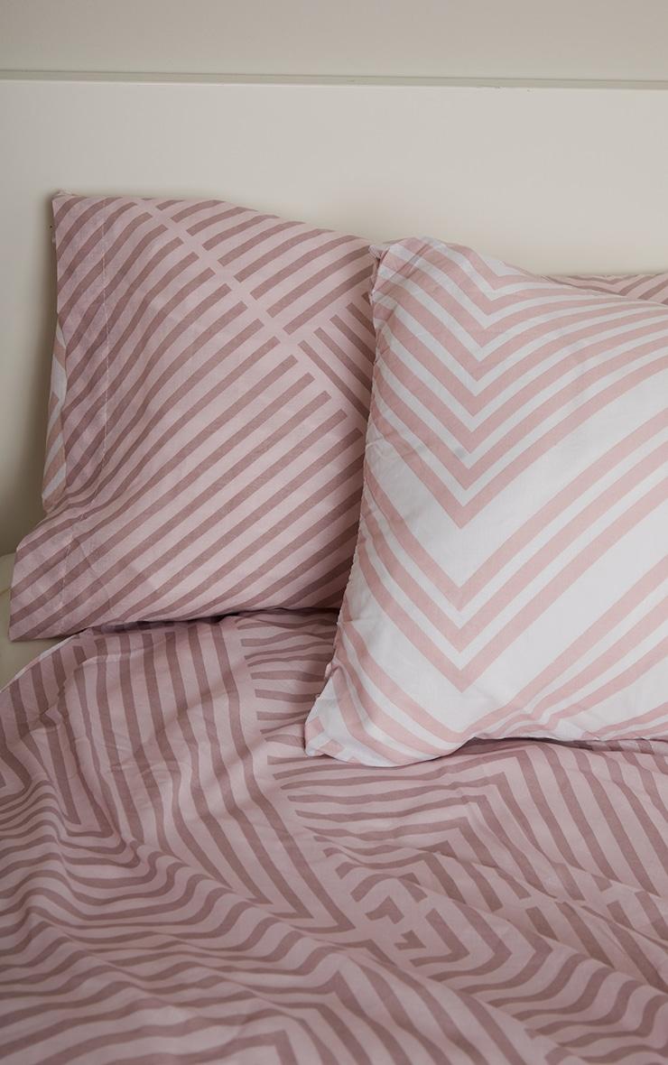 Pink Striped Geometric Double Duvet 3