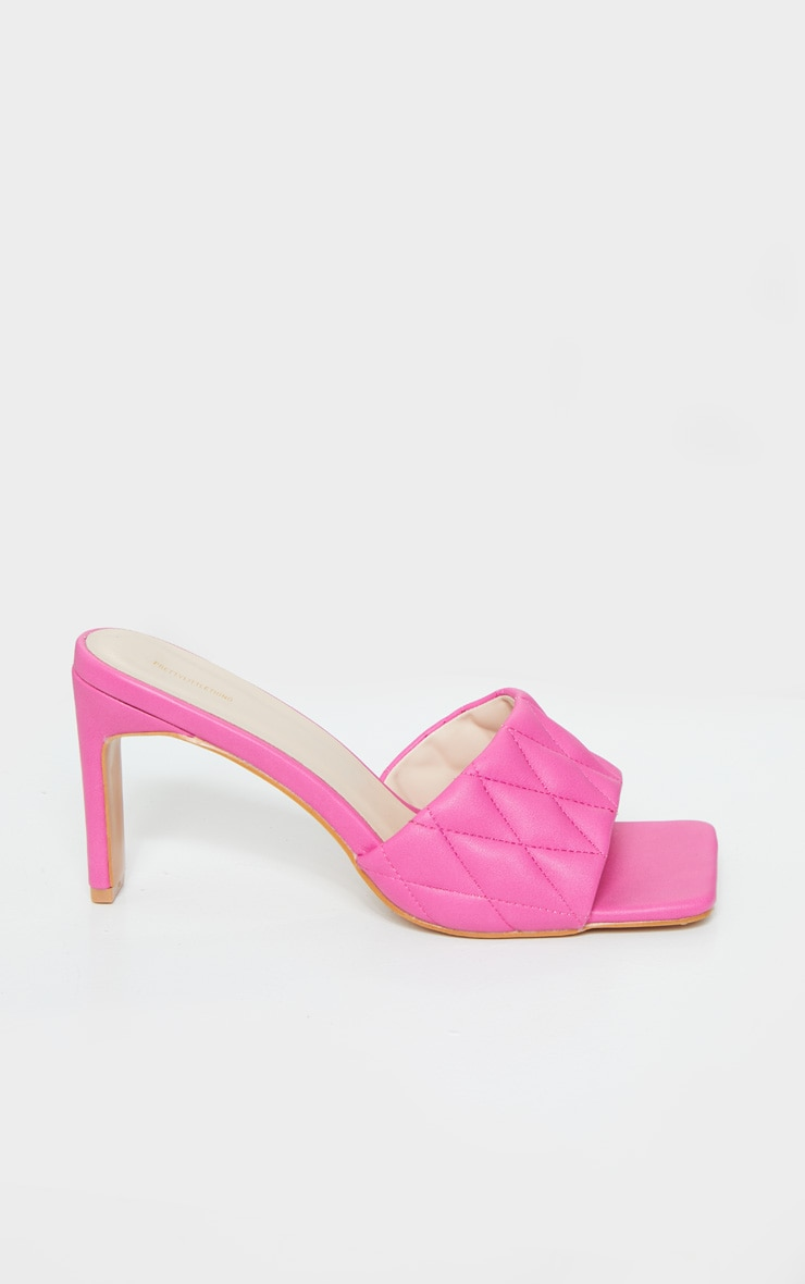 Pink Extreme Square Toe Quilted Strap Mule Heel 4