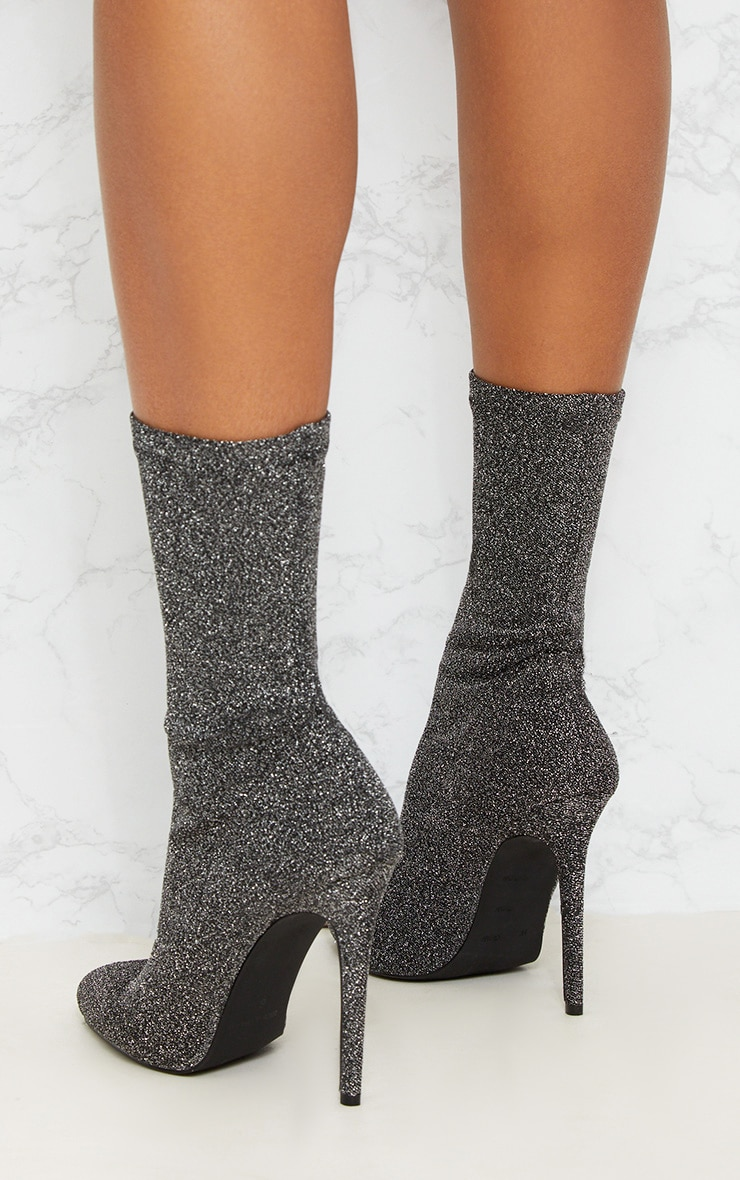 Black Glitter Sock Pointy Boots 4