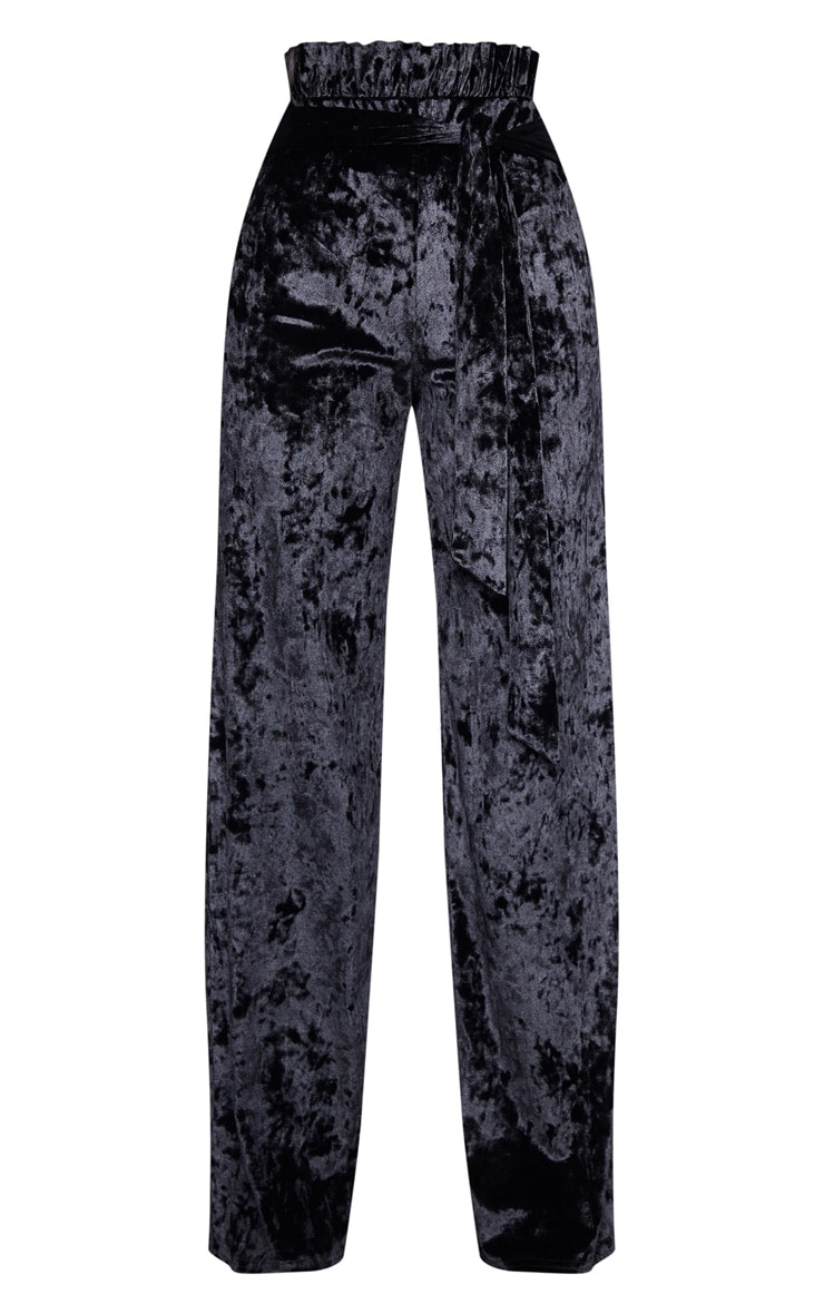 Black Velvet Paperbag Wide Leg Pants 3