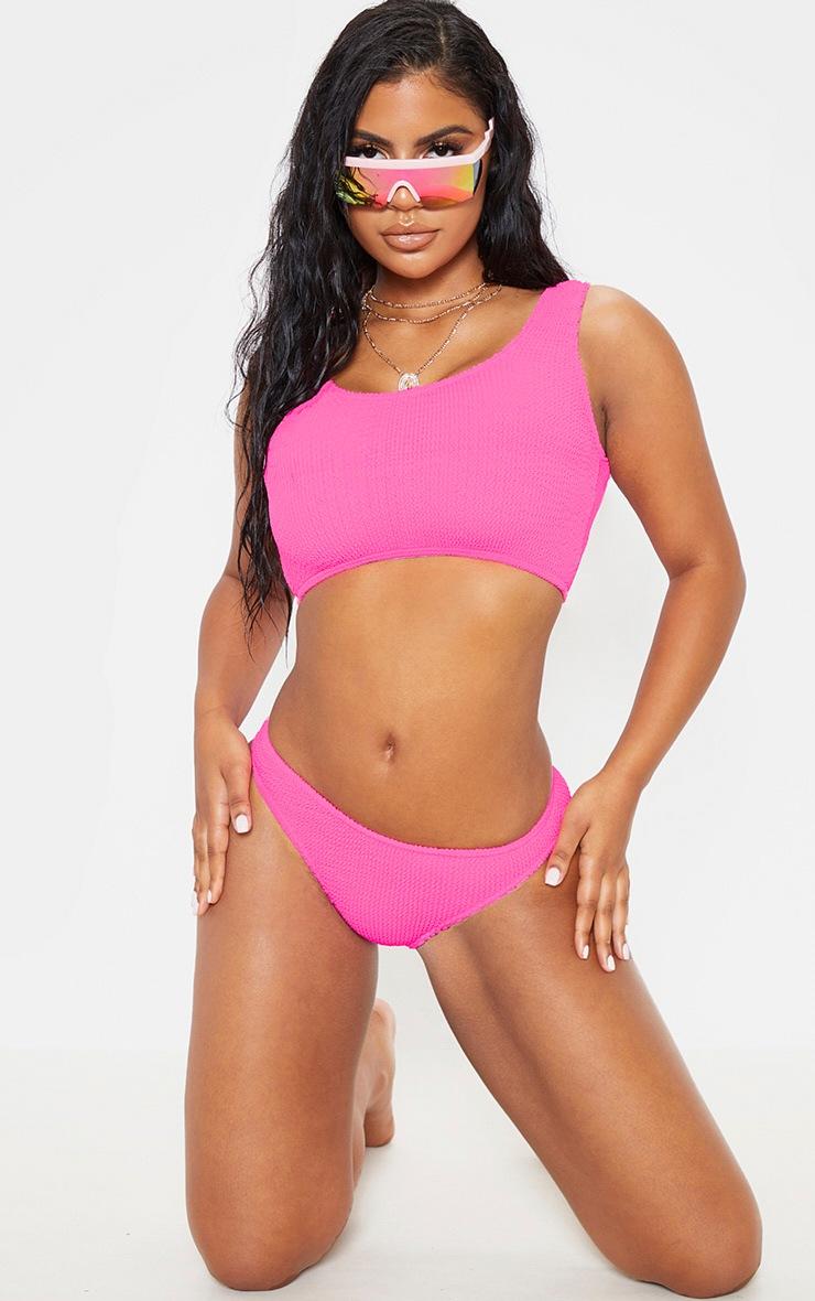 Neon Pink Fuller Bust Crinkle Deep Scoop Bikini Top 3