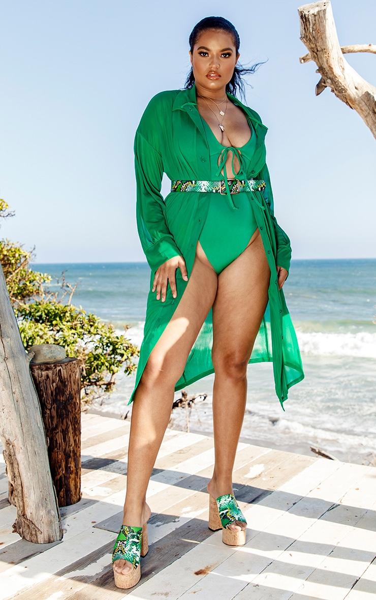 Plus Green Oversized Midi Beach Shirt 4