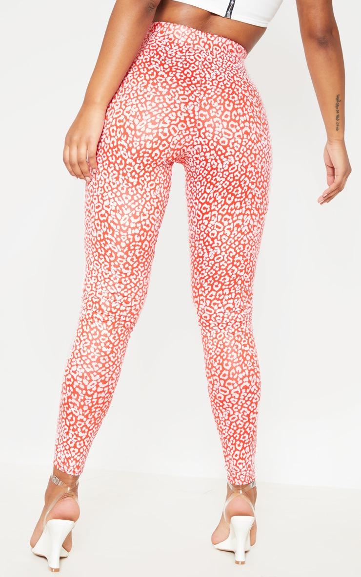 Red Shiny Leopard Print Legging 3