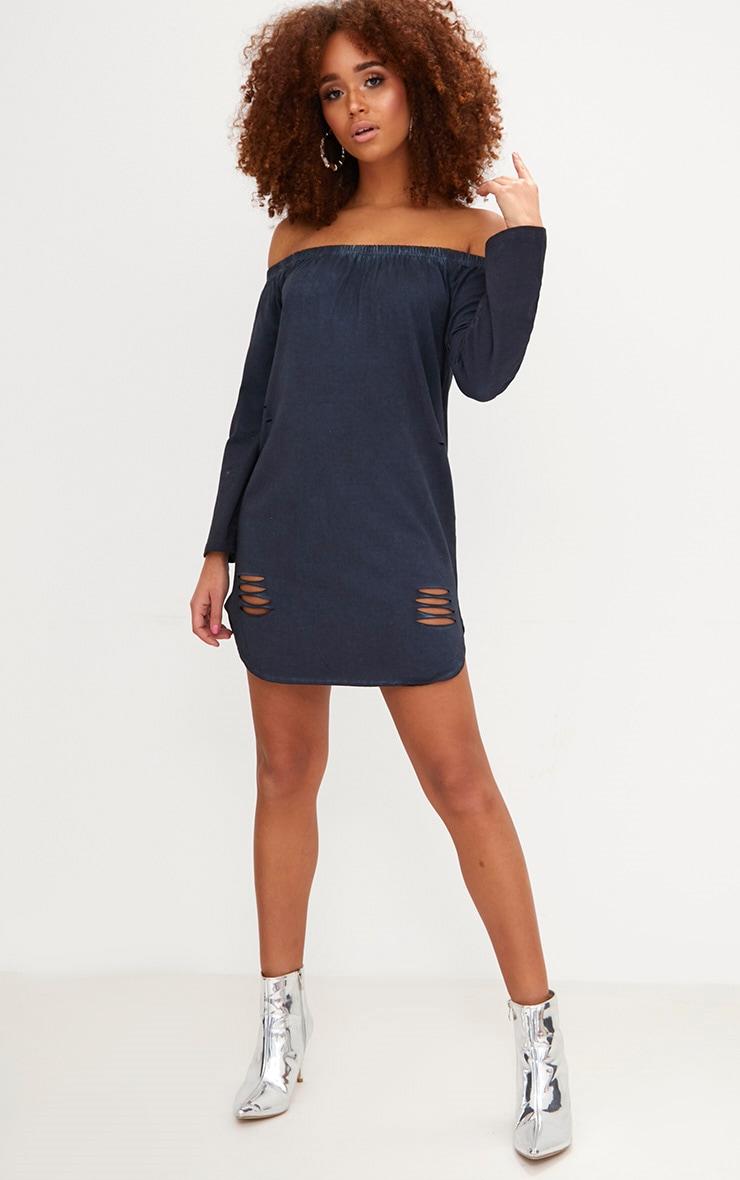 Black Acid Wash Jersey Bardot Distressed Shift Dress 1
