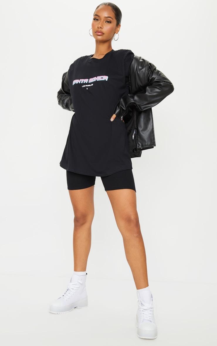 Black Santa Monica Printed T Shirt 3