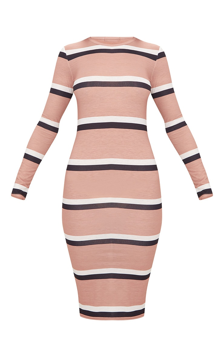 Nude Striped Long Sleeve Midi Dress 3