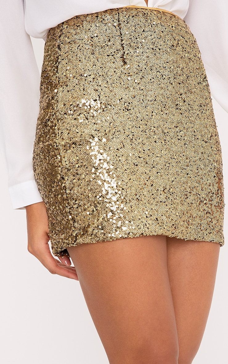 Violette Gold Sequin Mini Skirt 6