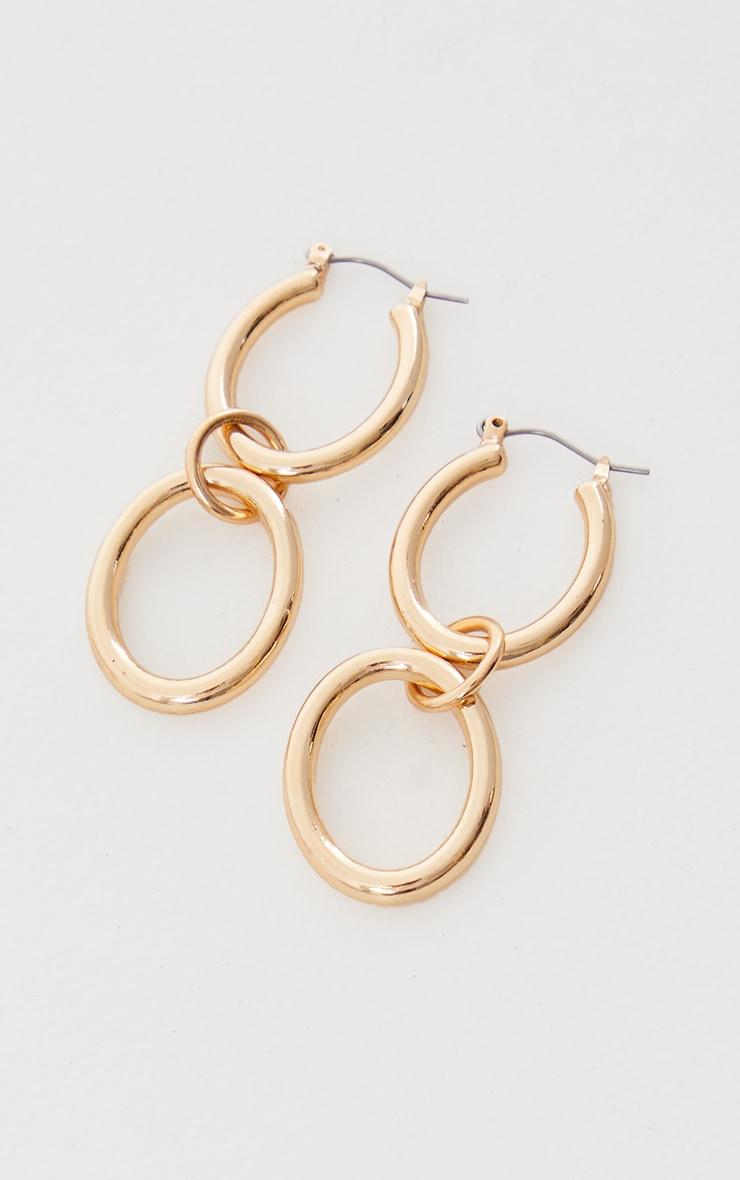 Gold Oval Double Hoop Earrings 3