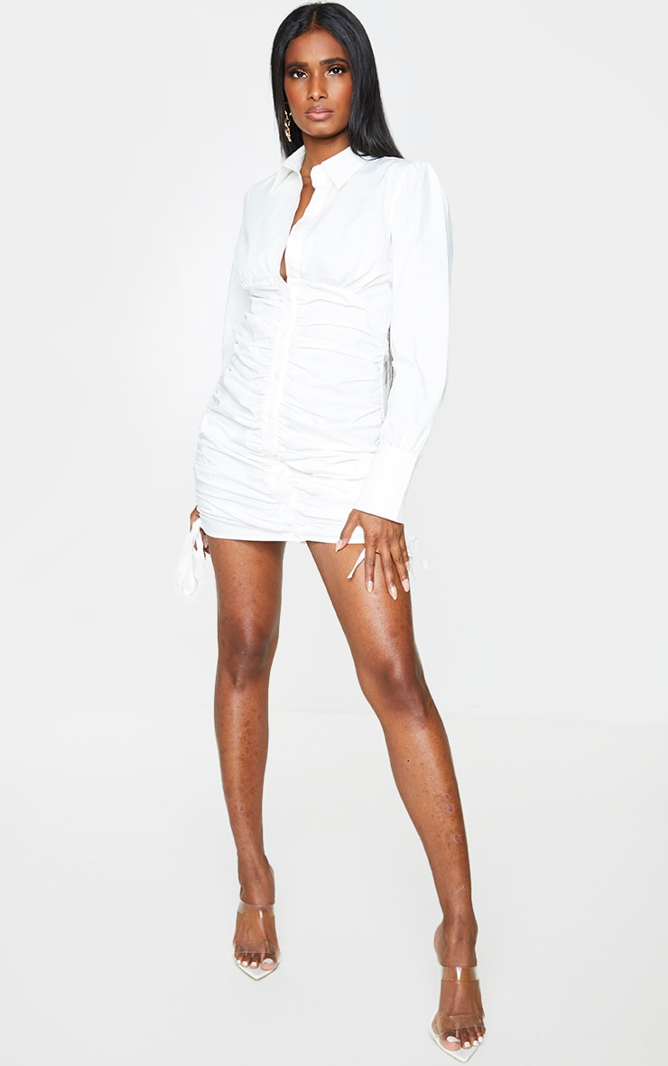 White Ruched Long Sleeve Shirt Dress 3
