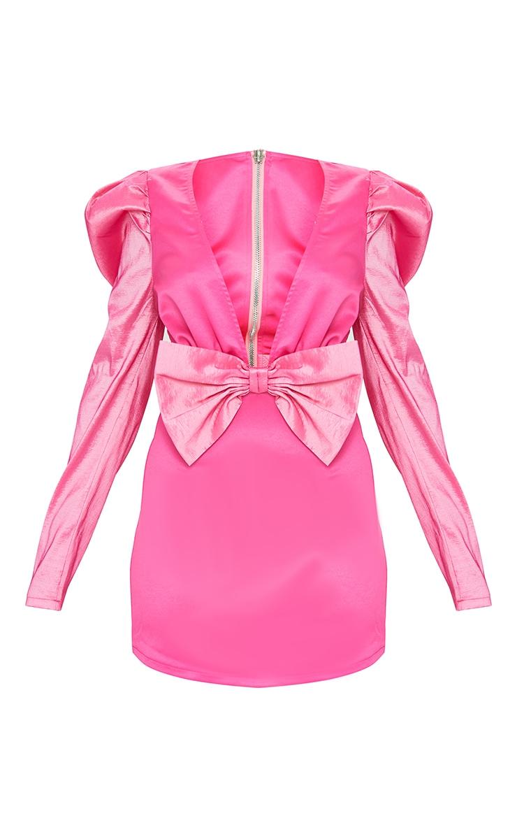 Petite Pink Satin Puff Shoulder Bow Detail Dress 5