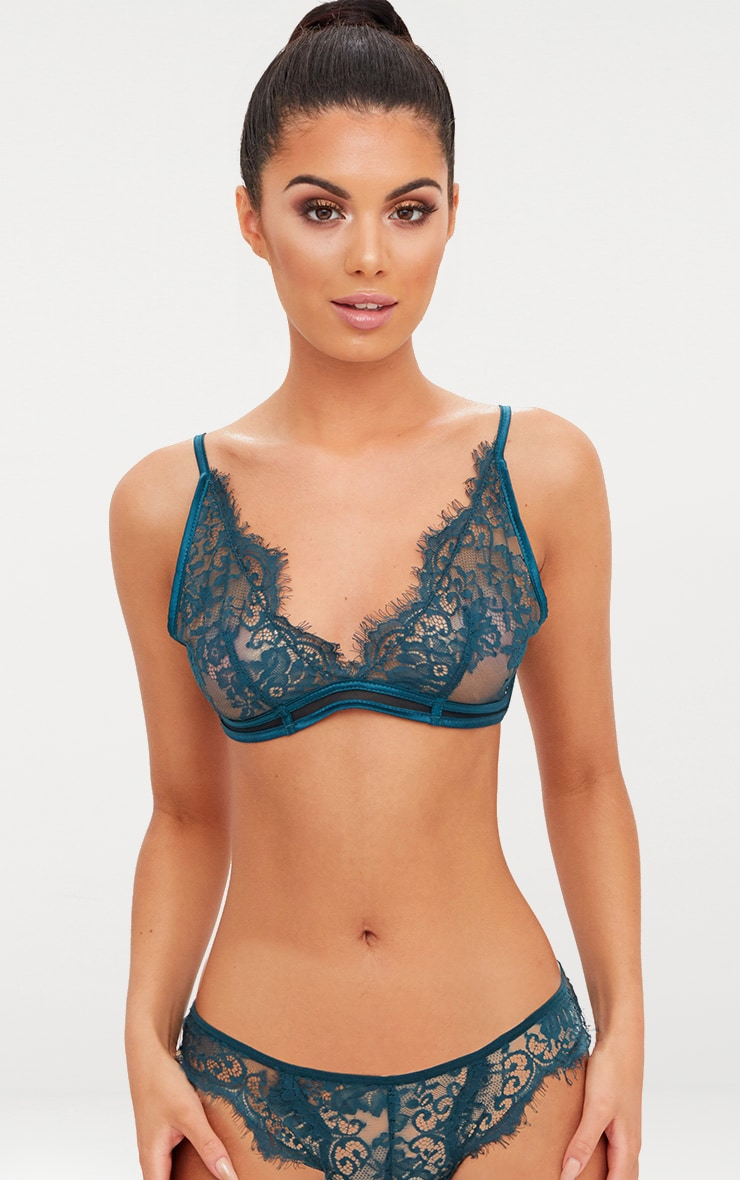 Emerald Green Sheer Lace Soft Bra 1