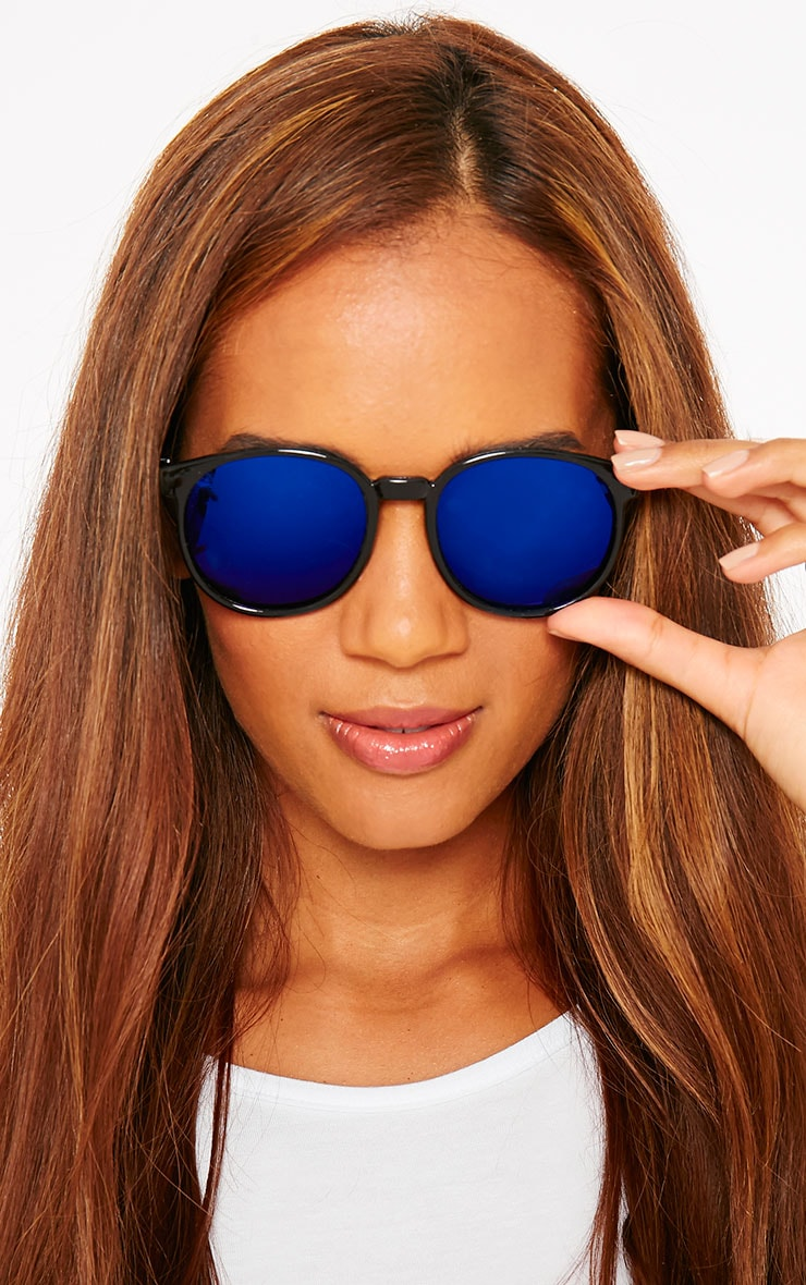 Elva Blue Mirrored Wayfarer Sunglasses 1