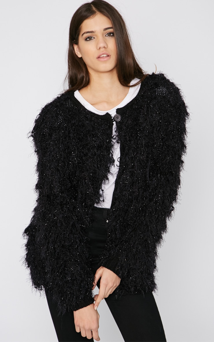 Naima Black Shaggy Knitted Jacket  1