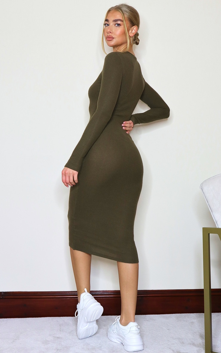 Khaki Brushed Rib Button Front Midaxi Dress 2