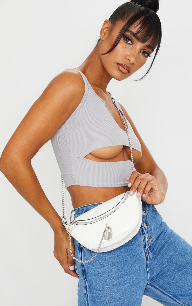 White Croc Silver Padlock Chain Bum Bag 1