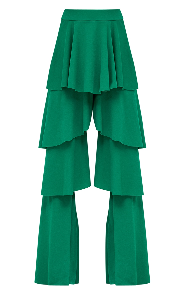 Green Tiered Frill Wide Leg Trousers 3