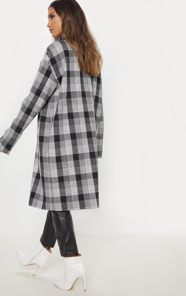 Grey Checked Oversized Coat  2