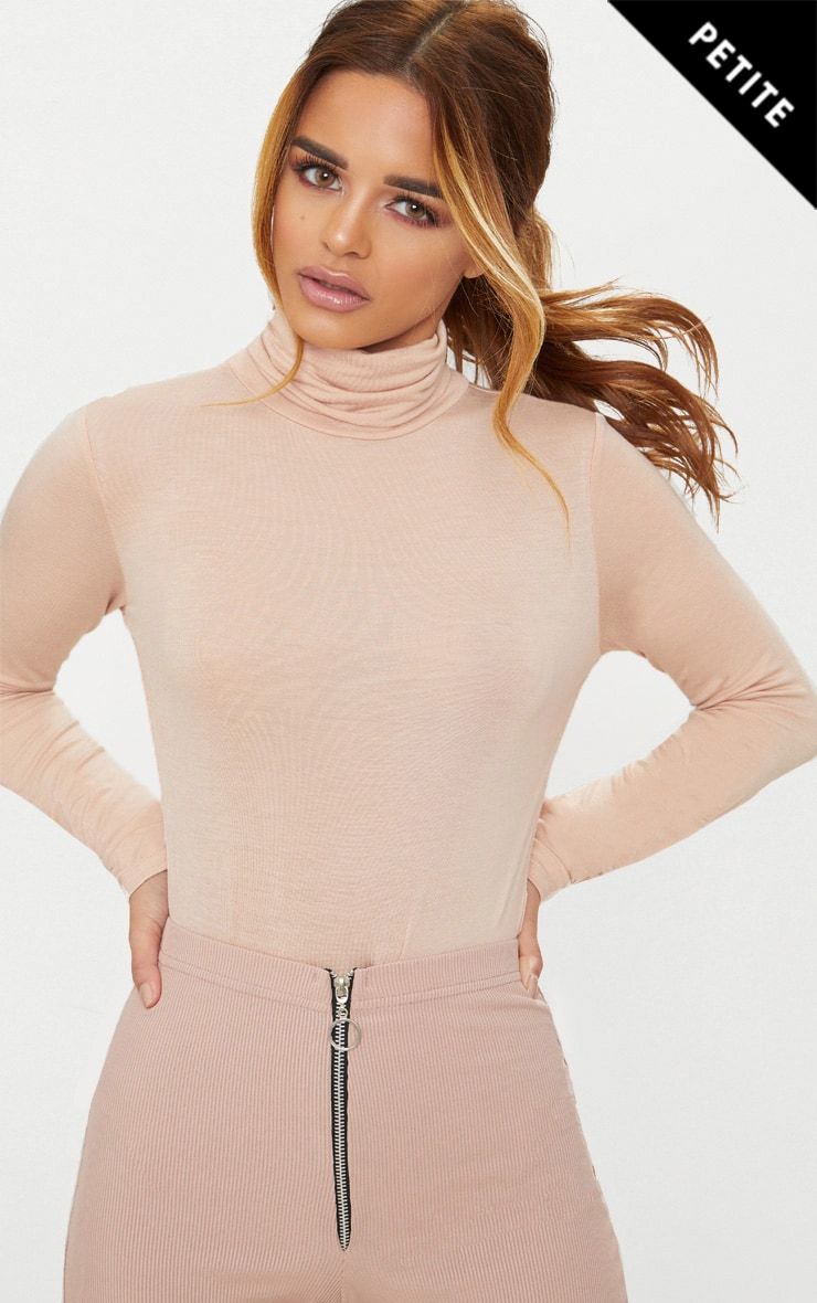 Petite Nude Basic Roll Neck Long Sleeve Bodysuit 1