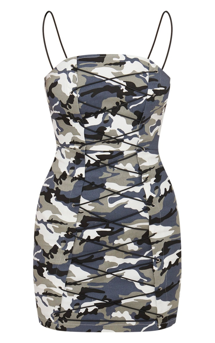 Grey Camouflage Lace Up Bodycon Dress 3